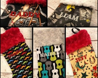 BLACK FRIDAY Weekend SALE Read Info Custom Punk Rock Stocking with minky cuff skulls tattoos guitars and more can add a monogram as well