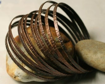 Stacking Bangle Bracelets, Antique Copper Bangles, Hammered Bangles, Textured Bangles, one piece (item ID ACBW64)