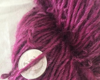 Pink lincoln  wool and mohair yarn single ply bulky yarn 176 yards felting needlfelt hair dreads rare breed sheep  chunky knit