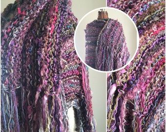 Handspun handknit huge purple fringed shawl/wrap
