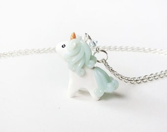 Blue Ice Quartz Miniature Unicorn Charm Necklace