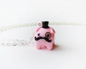 Cute Gentleman Pig Charm Necklace