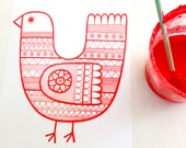 Scandi red bird screen print by Jane Foster  - hand printed signed LIMITED EDITION
