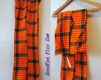 Genuine 70s Bell Bottom Pants Girl's Slacks size 10 12  Bold PLAID Elastic Waist Gold Blue Retro Party Costume NEVER WORN