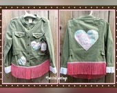 Upcycled Pink Fringe Girls' Jacket OOAK Military Green with Floral Heart Appliques Recycled 5T 5Y Littlr Girls Boutique Clothing