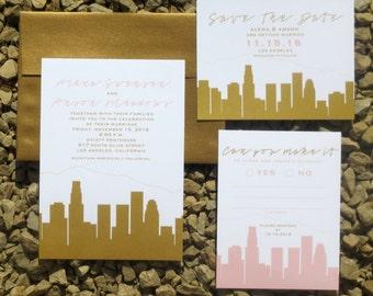 LA Wedding Invitation Suite - Rose Quartz and Gold - Wedding Invitation - LA Skyline