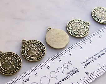 Brass Round Charms 'St. Christopher' Rosary Jewelry Making Supplies  6 Pcs.
