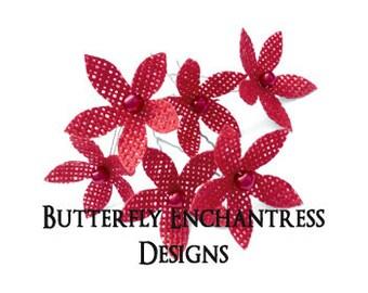 Rustic Red Bridal Hair Flowers, Burlap Wedding Hair Piece, Flower Hair Accessory, Bridesmaid Favor Gift - 6 Red Burlap Stephanotis Hair Pins