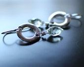 Gemstone Earrings, Green Amethyst Earrings, Faceted Prasoilite Pale Green Gemstone, Sterling Silver Ear Wires, Silver Round Link Earrings