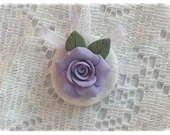 ORNAMENT Lavender Rose Polymer Clay Shabby Chic ECS sct schteam svfteam