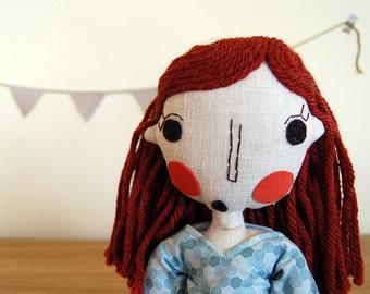 Rag Doll, Handmade Doll, Girl Doll, Custom Doll, Personalized Doll, Fabric Doll, Cloth Doll, Red Hair Doll - Lila