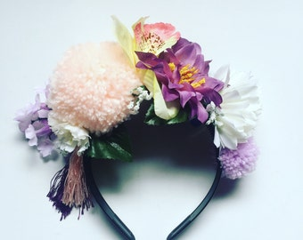 Pom Pom Tassle Floral Flower Crown Festival Head Dress Hair Band