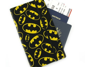 Travel wallet, passport holder, family travel wallet, travel organizer, passport wallet, document holder - Batman