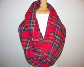 Tartan plaid flannel infinity scarf red blue yellow