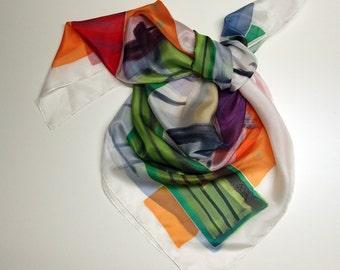 Silk scarf Hand painted - (90x90cm) Silk Scarf - Woman scarf - Giveaways - 36x36in - Ooak silk scarf