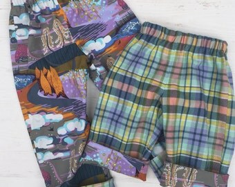 Flannel reversible pants, sizes 6m-12m, 12m-18m, 18-24m, 3T