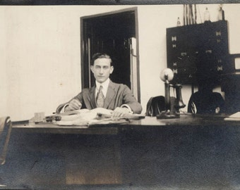 vintage photo 1920 The Office Manager w Telephone