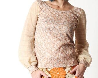 Floral beige top, Sheer sleeved top, Vintage floral print top with lace patterned long sleeves,  sz UK 12