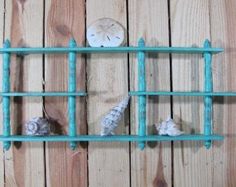 Turquoise Display Shelf Wood Wall Decor Beach House Cottage Chic Coastal Shabby Chic