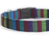 Striped Dog Collar, Serape, Mexican Stripe, Fosset Stripe in Dark