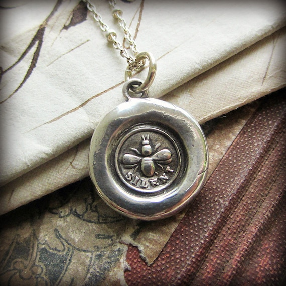 Wax Seal Bee Necklace - Victorian Honey Bee silver Charm - symbolic of  industry, creativity, wealth, diligence and eloquence - V1228