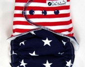 Custom Cloth Diaper AI2 Made to Order - All-in-2 Cloth Nappy -  Combo Print Stars and Stripes - Patriotic - USA - July 4th - Fourth of July