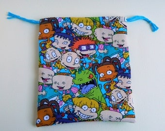 Rugrats Drawstring Bag, children crayons bag, kids storage bag, Rugrats Birthday Goody Bags, reusable fabric bag, gift bags, Angelica, tommy