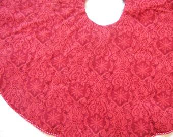 Burgundy Tonal Tree Skirt, Snowflake Tree Skirt, Snowflake Tree Skirt, Maroon Tree Skirt