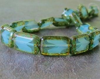 Seafoam Blue Green Picasso Rectangle Czech Glass Bead 8x12mm :  12 pc Capri Rectangle