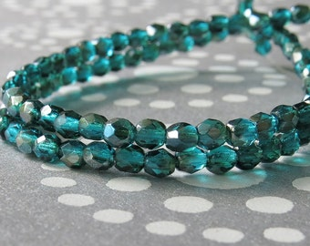4mm Viridian Celsian Czech Glass Bead Faceted Round : 50 pc 4mm Round Bead