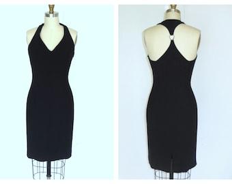 Little Black Sheath Dress 90s Racerback Dress Crystal Embelished Cutout  Dress Sz S