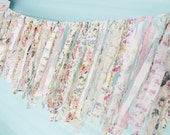 Bridal Shower Rag Tie Banner Wedding Garland Baby Fringe Tea Party Chair Back Valance Bunting Banner Bride Swag Photography Prop Photo Booth