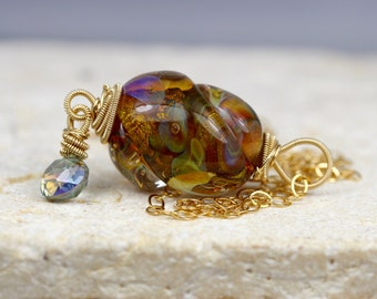 Lampwork Necklace - Gemstone Necklace - Wire Wrapped Necklace - Gold Necklace - Mystic Topaz Necklace - Womens Pendant - Womens Necklace