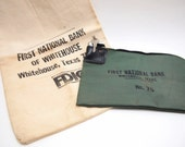 Free Shipping Vintage canvas and locking bank bags Lot of 2  Money Bags one with a lock and key Green Wine gift bag