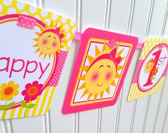 You are My Sunshine Happy Birthday Banner / Sunshine Banner Personalized with Name and Age / Yellow with Pink / Any Age