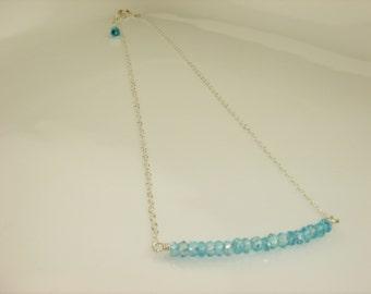 Swiss Blue Topaz Bar Necklace