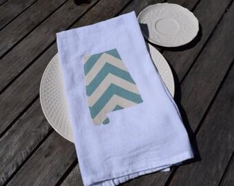 State of Alabama flour sack kitchen tea towel blue chevron - personalized gift - customizable - tea towel - home state pride