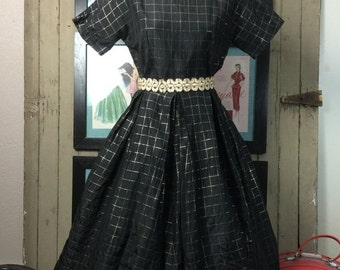 Sale 1940s dress black dress 40s dress full skirt dress box pleated dress taffeta dress 1950s dress black and gold plaid
