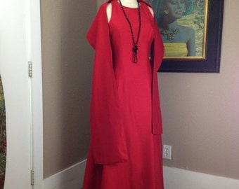 1960s floor length gown 60s red formal dress size medium Vintage sleevless maxi dress with shawl