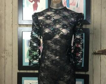 Fall sale 1980s lace dress 80s black dress micro mini Vintage mini dress sheer sequin dress