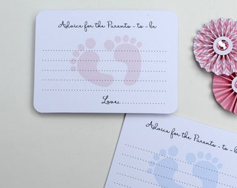50 Baby Shower Advice Cards, Parents to be, Pink or Blue Foot Print Cards, Baby Shower Games, Reveal Baby Shower