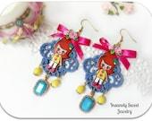 SALE- Retro Girl Earrings
