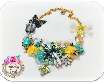 Marie Antoinette Collage Necklace Queen Bee