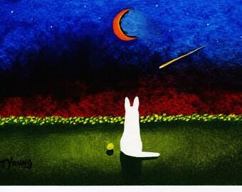 White German Shepherd Dog original 5 x 7 art painting TWILIGHT by Todd Young