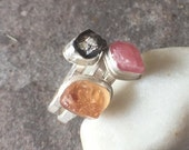 30% OFF - Sterling Silver Raw Rhodochrosite Raw Hessonite Garnet Meteorite Stacking Ring - US Size 6.5 twochickstoo