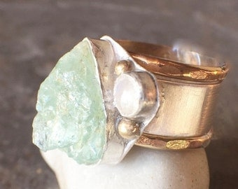 ON SALE - Raw Aquamarine Sterling Silver Gold Filled Rainbow Moonstone Wide Band Stacking Rings US Size 6.5