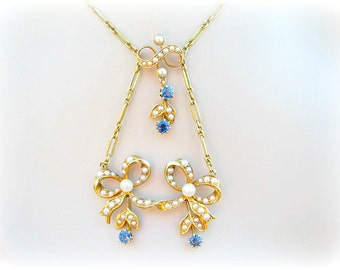 Charming Art Nouveau Sapphire Pearl Necklace, Elegant Leaf and Bow Design in 18K Gold, Cornflower Blue Sapphires, Fancy Link Chain