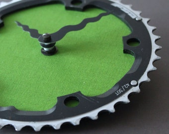Bicycle Gear Clock - Grass Mountain  |  Bike Clock  | Wall Clock | Recycled Bike Parts Clock