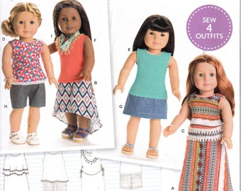 "Simplicity 8040 American Girl 18"" Knit Doll Clothes 4 Outfits Sewing Pattern NEW UNCUT"