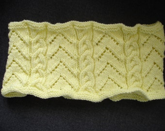 """New Handmade Pale Yellow Chevrons and Cables Knit Cowl - 29"""" x 7"""""""